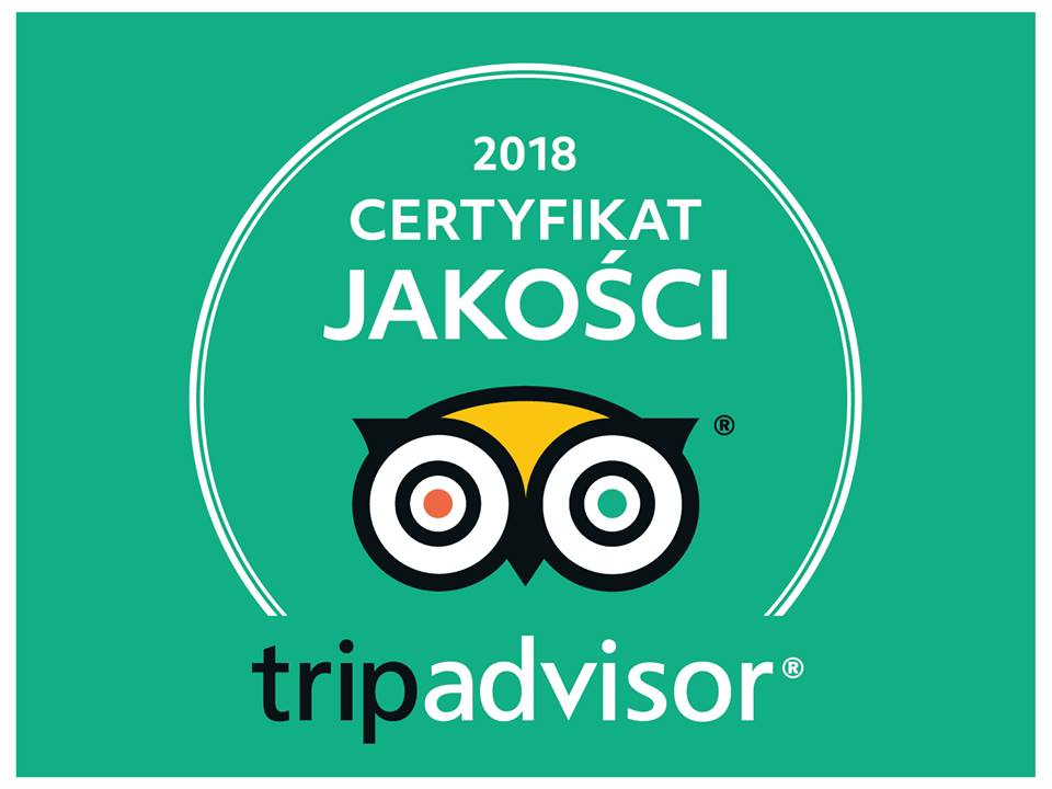 Read more about the article CERTYFIKAT JAKOŚCI 2018 – TRIPADVISOR !