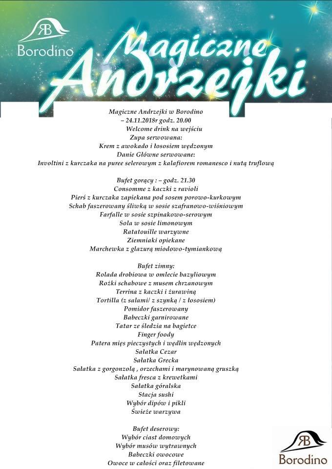 Menu Balu Andrzejkowego 2018